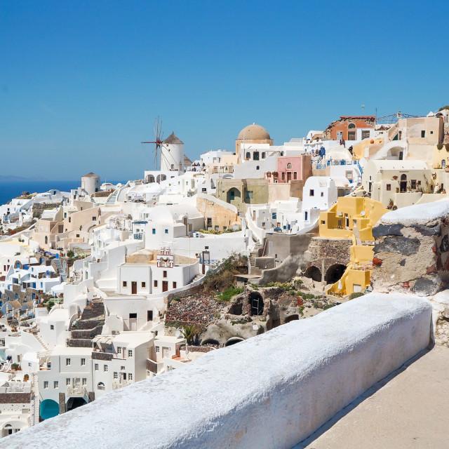 """Greek Aegean island, Santorini, in the summer day, Greece"" stock image"