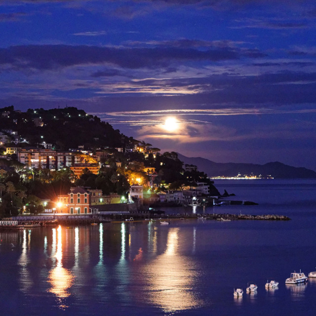 """The moon over Tigullio Bay"" stock image"