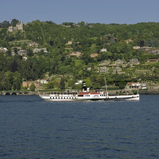 """""""Lake Como, the boat """"Concordia"""""""" stock image"""