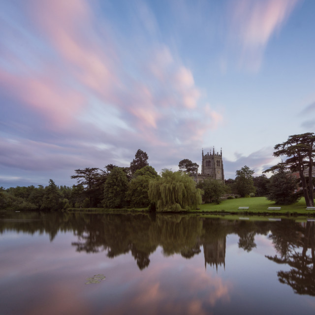 """Staunton Harold Hall at sunset."" stock image"
