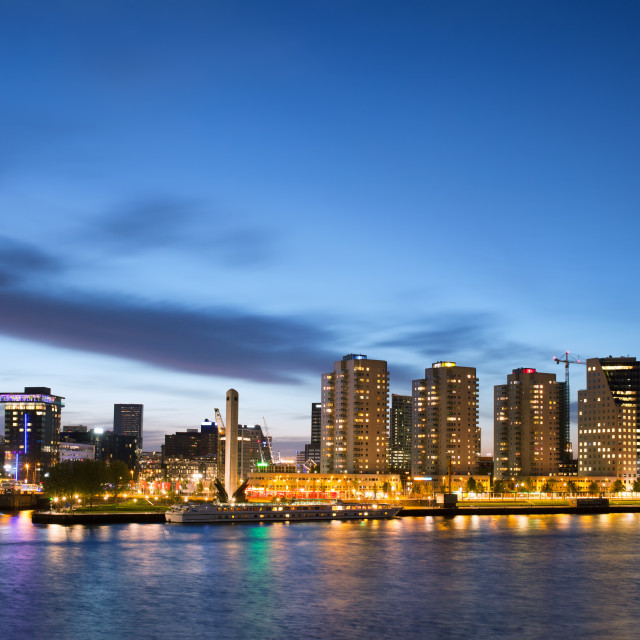 """City of Rotterdam Skyline at Dusk"" stock image"