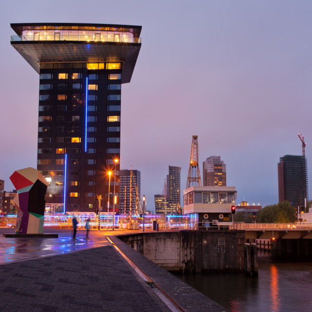 """Rotterdam Cityscape in the Evening"" stock image"