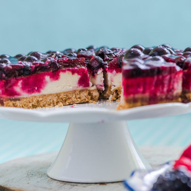 """""""slice of forest fruit cheesecake"""" stock image"""