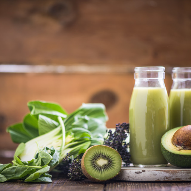"""Green vegetable and fruit smoothie"" stock image"