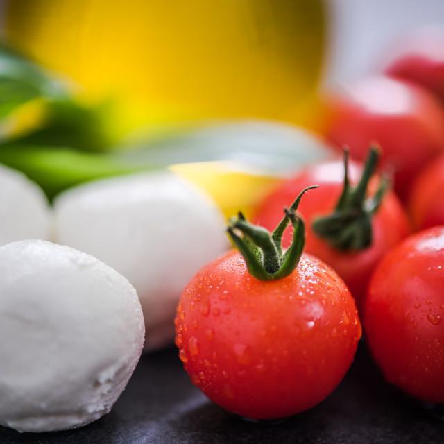 """fresh tomatoes and mozzarella"" stock image"