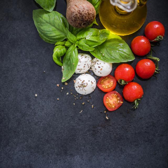 """basil,tomatoes and mozzarella"" stock image"