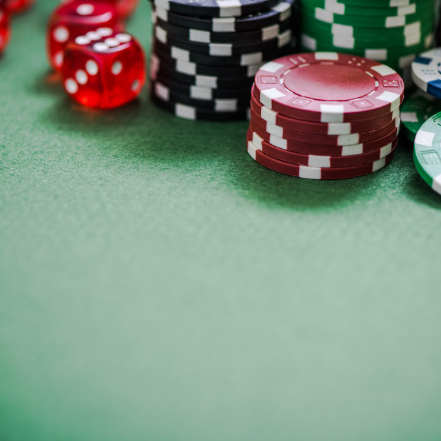 """green poker table with chips, selective focus"" stock image"
