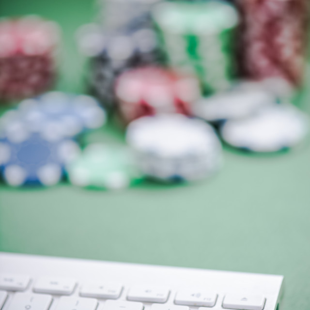 """keyboard and casino chips"" stock image"