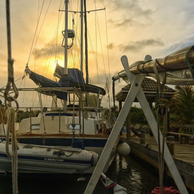 """Evening at the marina"" stock image"