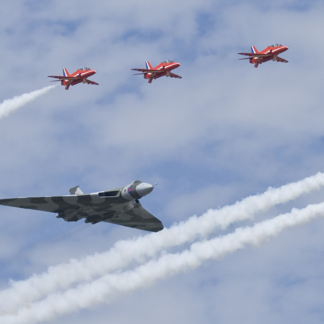 """Red Arrows & Vulcan"" stock image"