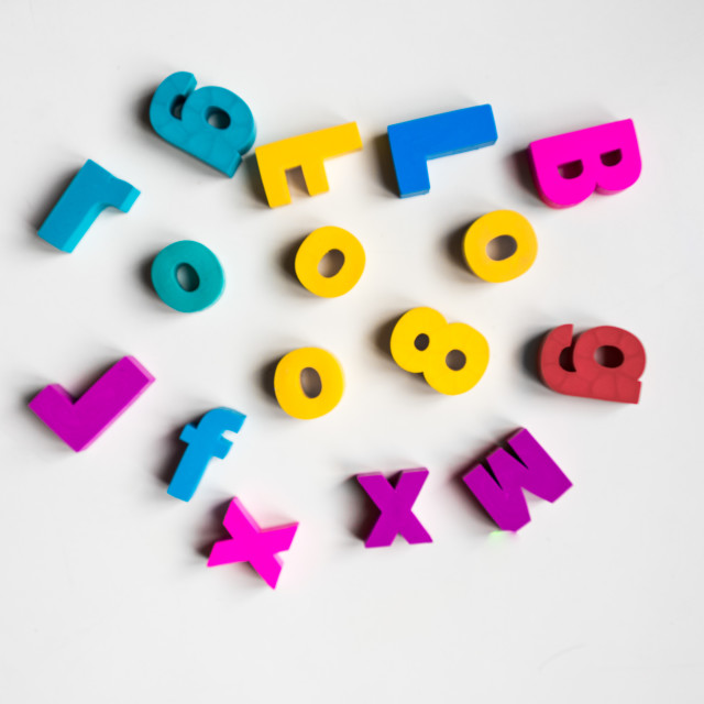 """Scrambled letters and numbers"" stock image"
