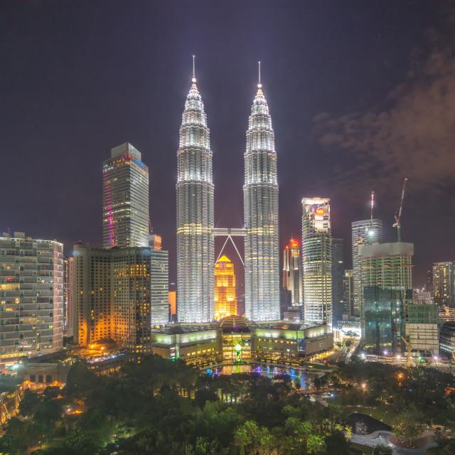 """Night view of Kuala Lumpur City Center"" stock image"