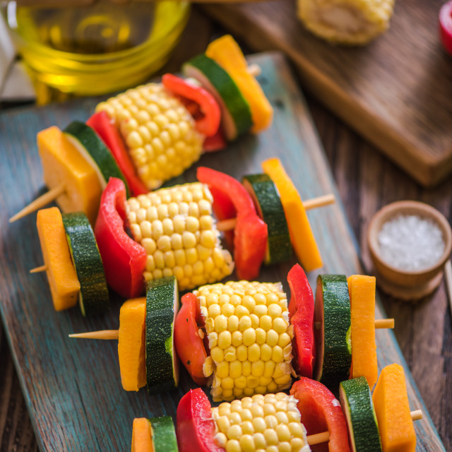 """vegeterian skewers for bbq garden party"" stock image"