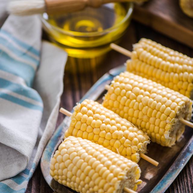 """sweetcorn cob ready for bbq"" stock image"