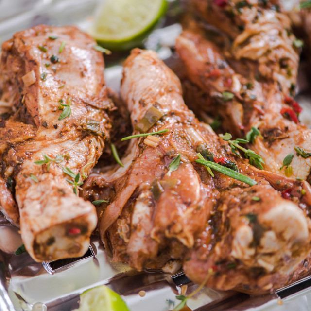 """chicken drumstick in marinate for bbq"" stock image"