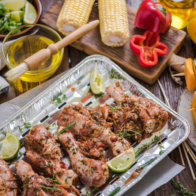 """food marinated for barbecue"" stock image"