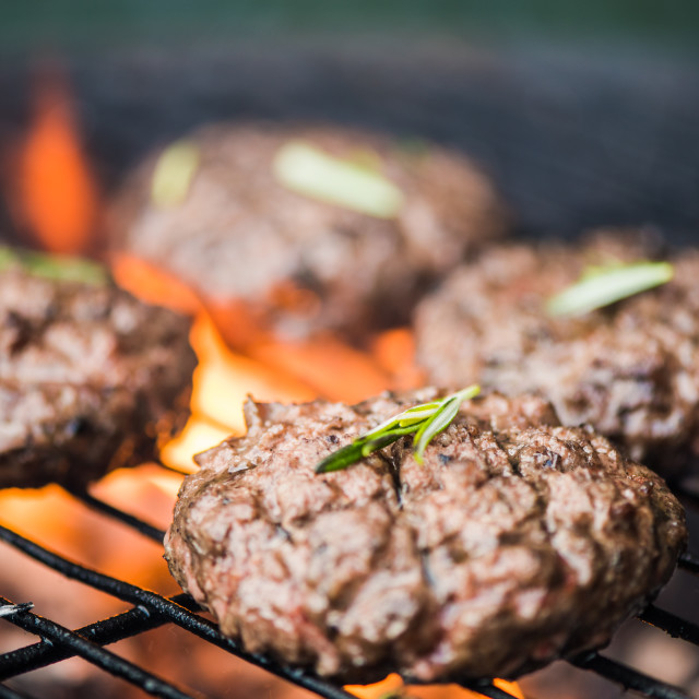"""bbq burgers, smoke and fire"" stock image"