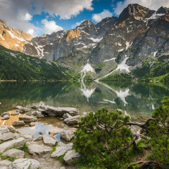 """""""sunset in high mountains and apline lake"""" stock image"""
