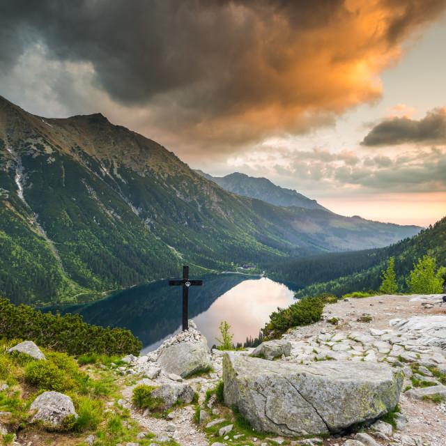 """""""Dramatic sunrise ove morski Oko apline lake"""" stock image"""