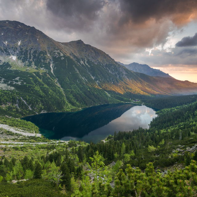 """""""romantic sunrise in mountains with natural pond"""" stock image"""