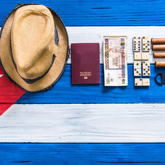 """""""getting ready for travel to Cuba"""" stock image"""