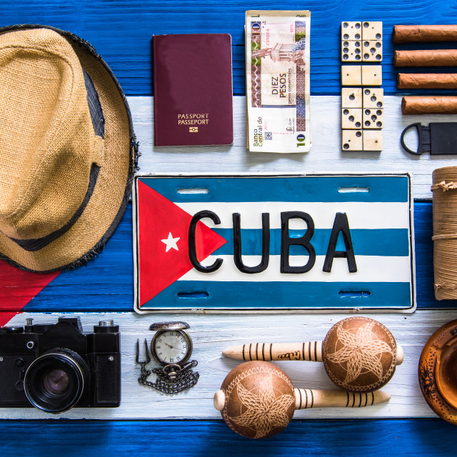 """""""flat lay items related to travel to cuba"""" stock image"""