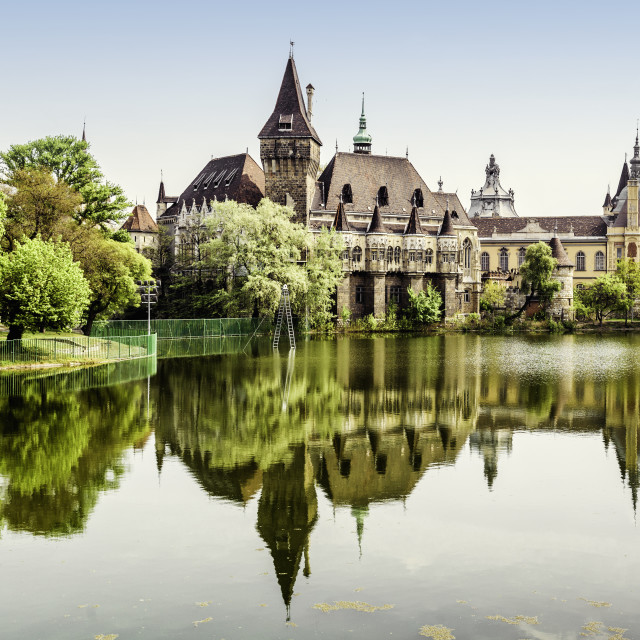 """Vajdahunyad castle view from lakeside. Budapest, Hungary"" stock image"