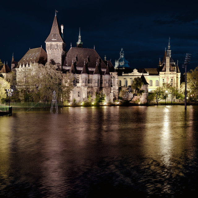 """Night view of Vajdahunyad castle from lakeside. Budapest, Hungary"" stock image"