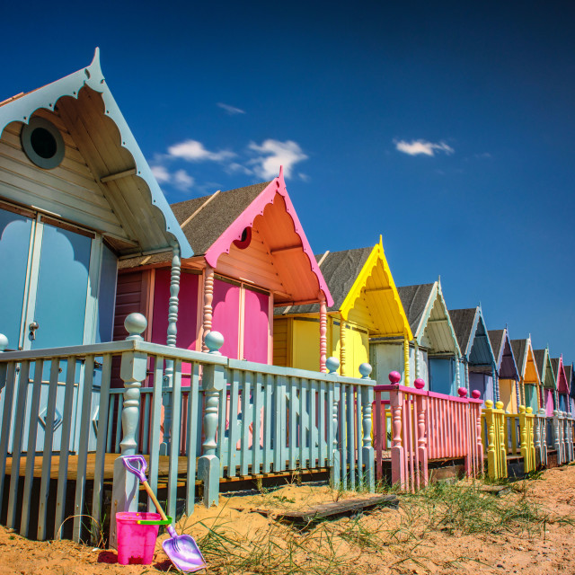 """West Mersea Colourful Beach Huts"" stock image"