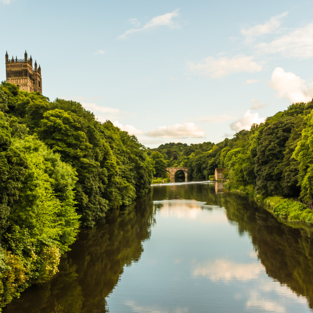 """Durham - The River Wear in the Evening"" stock image"