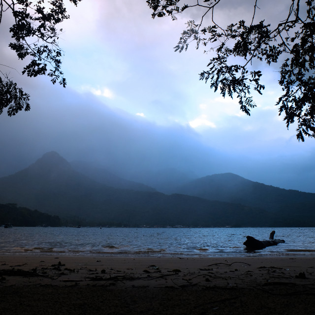 """Rainy sunset on Ilha Grande"" stock image"
