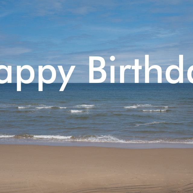 """Happy Birthday on the beach"" stock image"