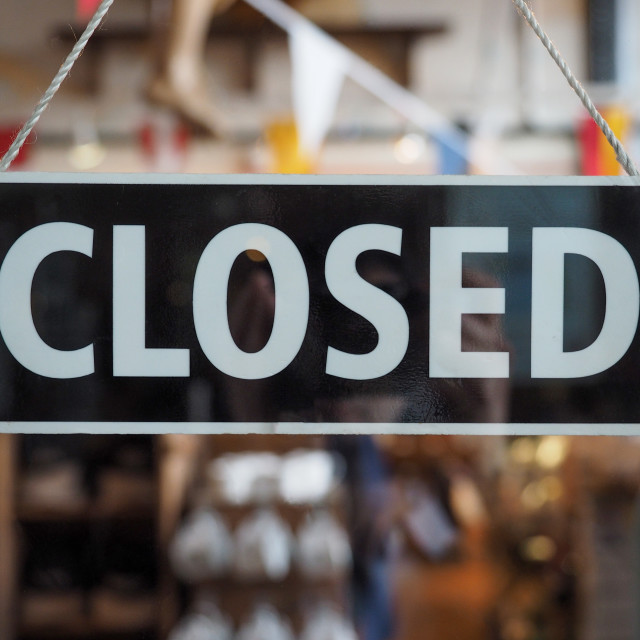 """Closed sign on a shop window"" stock image"