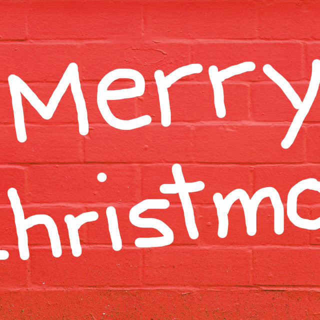 """Merry Christmas over red brick wall"" stock image"
