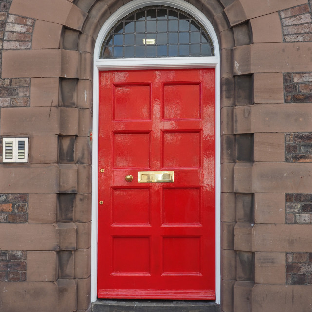 """Red British door"" stock image"
