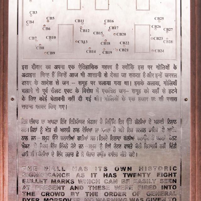 """""""Sign board of Bullet marks at Jallianwala Bagh massacre, Amritsar, Punjab, India"""" stock image"""