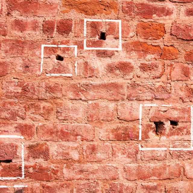 """""""Bullet marks of Jallianwala Bagh massacre, Amritsar, Punjab, India"""" stock image"""