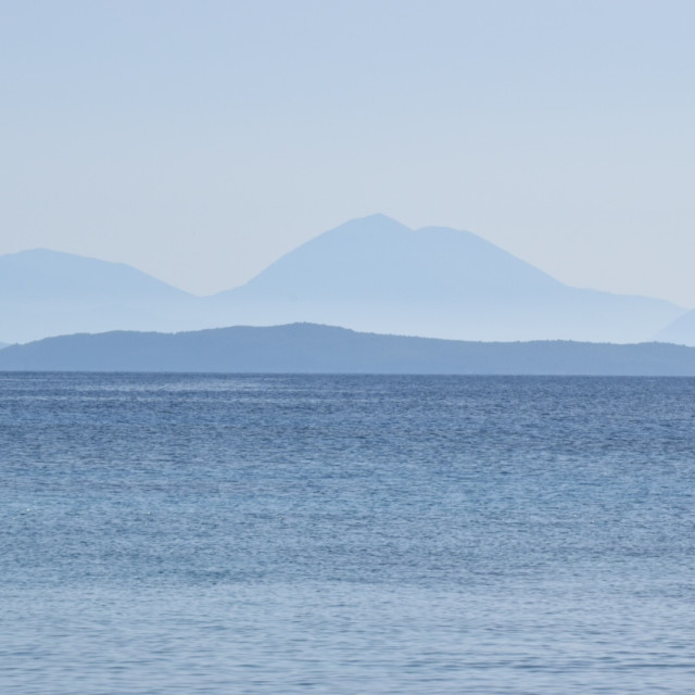 """Blue - sea & mountains"" stock image"