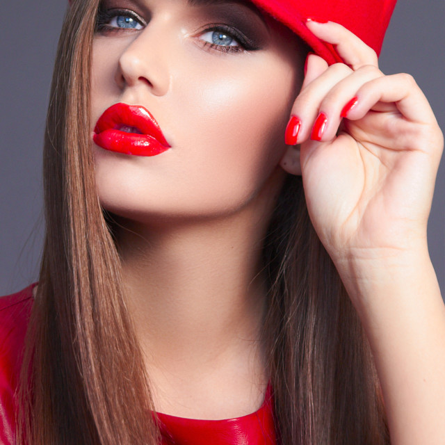 """""""The girl in a red dress. Girl in a red hat."""" stock image"""