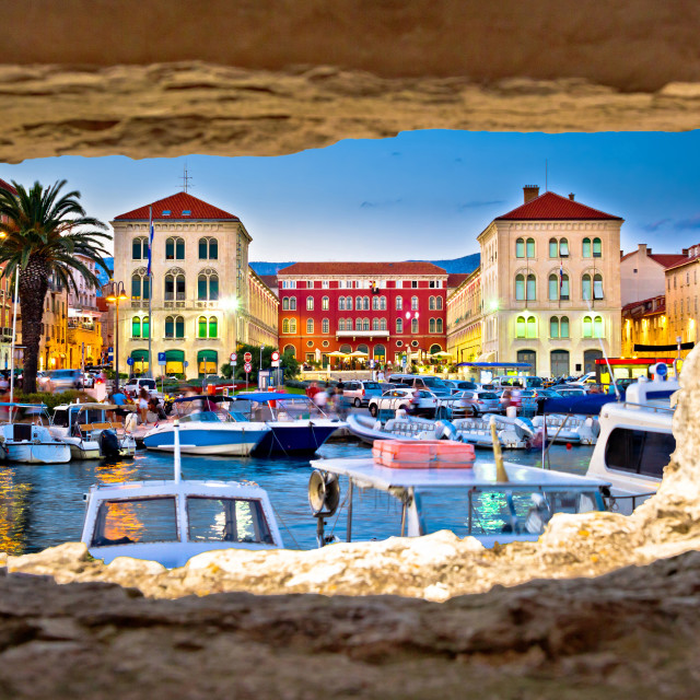 """Prokurative square in Split through stone window"" stock image"