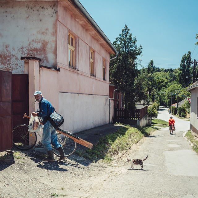 """Street scene in Rural Serbia"" stock image"
