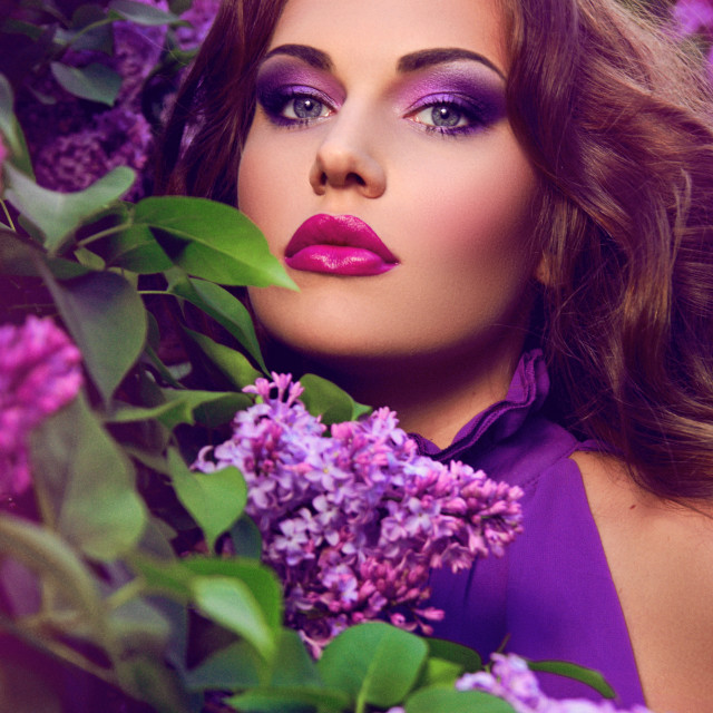 """""""Beautiful girl with flowers."""" stock image"""