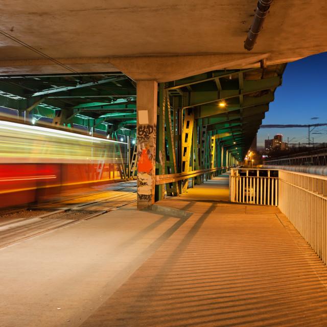 """Traffic on Gdanski Bridge at Night in Warsaw"" stock image"