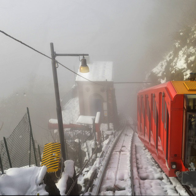 """Lake Como, Brunate, funicular."" stock image"