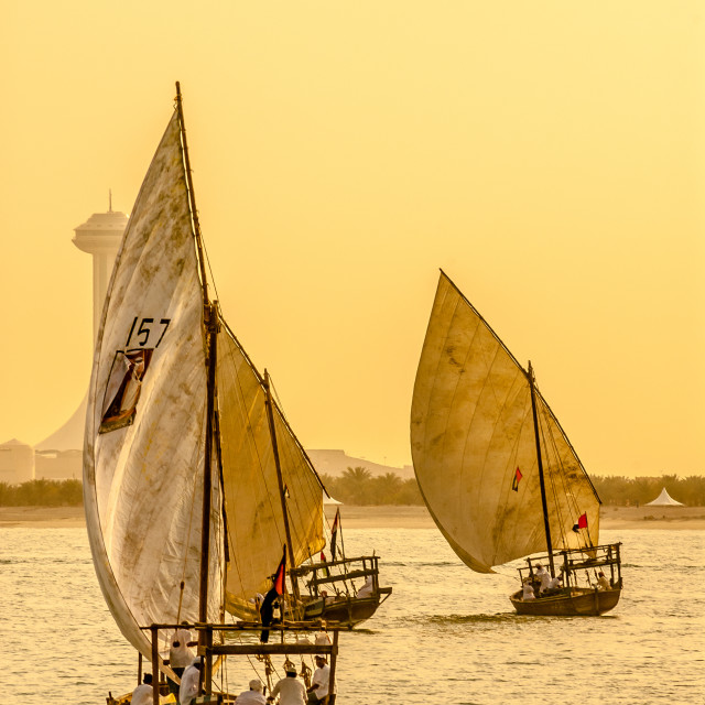 """Dhows sail into Sunset"" stock image"