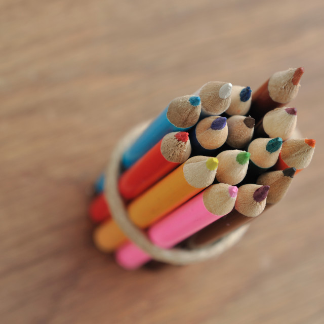 """""""colored pencils stringed"""" stock image"""