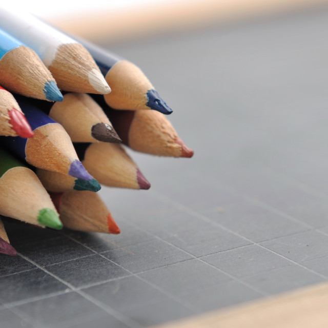 """""""colored pencils on a slate"""" stock image"""