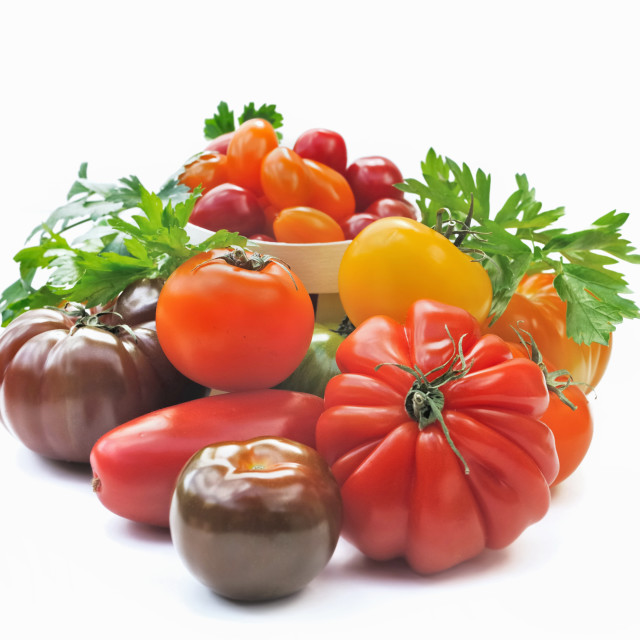 """""""various colorful tomatoes"""" stock image"""