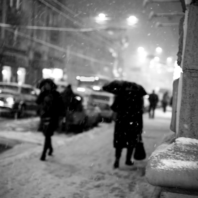 """Black and white winter city scene"" stock image"