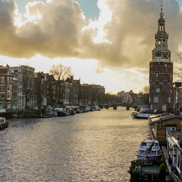 """""""Evening panorama with views of the canal from the tower of Montelbaan"""" stock image"""